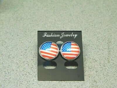 American Flag Earrings stud USA Cabochon Glass Dome Fourth of July Patriotic NEW