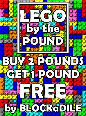 1 Pound of Lego by the lb  Bricks Tiles Blocks  BUY 2 lbs get 1 FREE