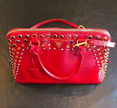 Prada Red Leather Jeweled Tote Bag Purse w Shoulder Strap