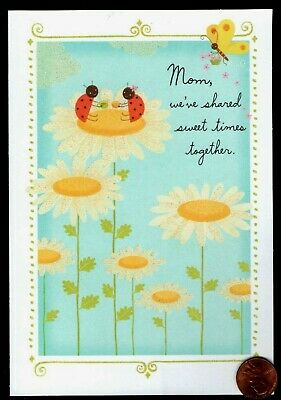 Mothers Day Ladybugs Daisies Butterfly  GLITTERED - Mothers Day Greeting Card