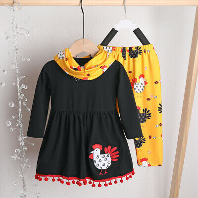 US Kids Baby Girls Long Sleeve Thanksgiving Clothes Turkey T-shirt- Pants Outfit