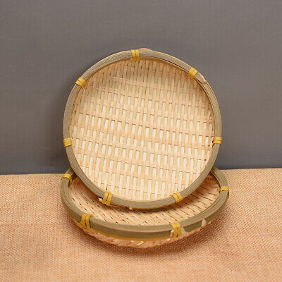 Bamboo Woven Basket Cake Bread Sushi Plate Vegetable Fruit Storage Container