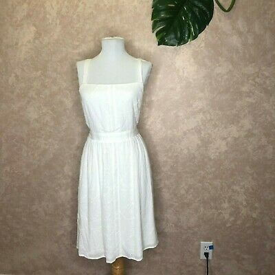 Q-A Stitch Fix Mabel Eyelet Dress Off White Size Small NWT Fit Flare Shirred
