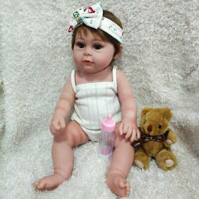 17 Full Body Silicone Reborn Baby Doll Lifelike Newborn Girl Doll Gifts Toys US