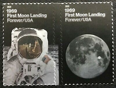 2019 Scott 5399-5400 - Forever - FIRST MOON LANDING - Attached Pair of Stamps