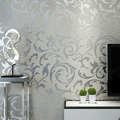 1M Metallic Textured Wallpaper Victorian Embossed Damask Roll Home Decor Floral