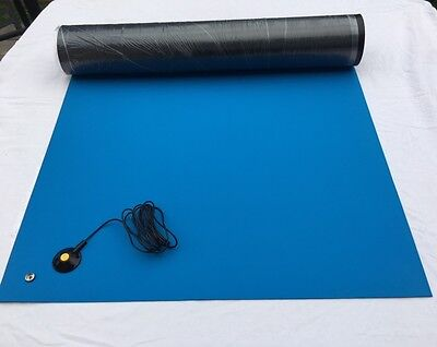RUBBER ESD ANTI-STATIC HI-TEMP SOLDERING  MAT-24 X 48 WGROUND CABLE-Blue
