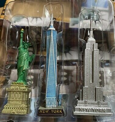 Set of 3 NYC Statue of LibertyEmpire and Chrysler Building Statue Figures 5 in