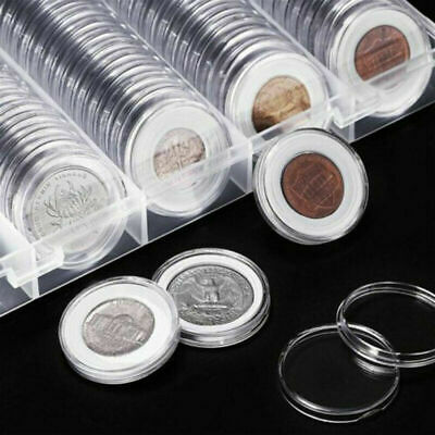 100x Coin Holder Clear Capsules Storage Box Round Display Case Container Tool US