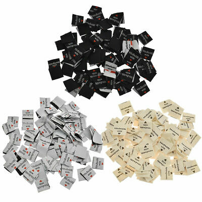 100 Pcs Clothing Labels Tag Handmade with Love Garment Woven DIY Sewing Craft US