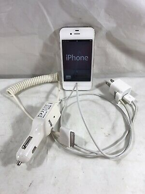 Apple iPhone 4S 16GB A1387 White AT-T Cord Car Charger TESTED WORKS GREAT 3 pcs