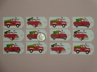12 red truck gift tag diecut scrapbooking greeting card diecuts 2 14 long