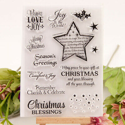 Merry Christmas Greeting Blessings Stamp clear Silicone Craft for ScrapbookWCP