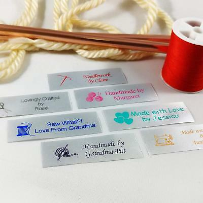 50 Personalized Satin Sewing Labels for Knitting Quilting and Sewing Crafts