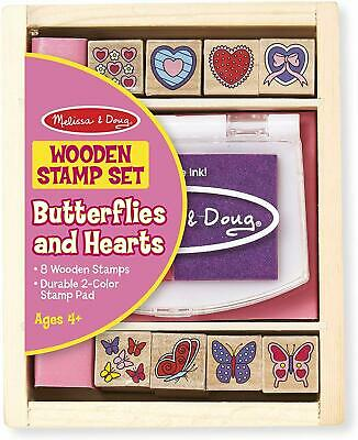 Wooden Stamp Set-8 Stamps and 2-Color Stamp Pad Great Gift for Girls and Boys