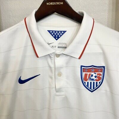 Nike USA Soccer 2014 Stadium Mens World Cup Jersey White Home 578024-105 Size L