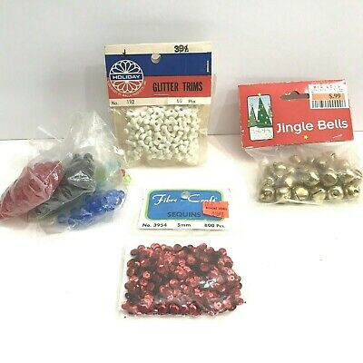 Christmas Crafts Lot Beaded Holiday Beads Sequins Jingle Bells Vintage Walco
