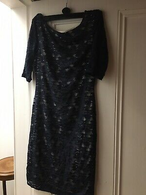 Kate Middleton Type Blue Lace Fitted Dress 10-12