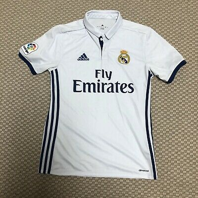 Adidas Climacool White Small Real Madrid Collared Soccer Futbol Jersey