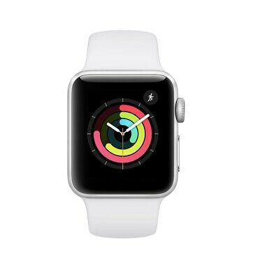 Apple Watch Series 3 38mm Silver Aluminum Case White Sport Band GPS SEALED -New-