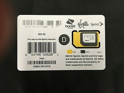 SprintBoostVirgin Mobile SIMOLW516TQ 3in1 SIM Card iPhone 11 Xs Note10 S10 G8