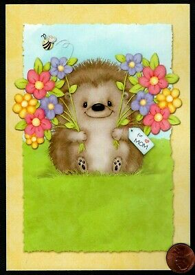 MOTHERS DAY Hedgehog Flowers Bee Tag Smiling - Mothers Day Greeting Card - NEW