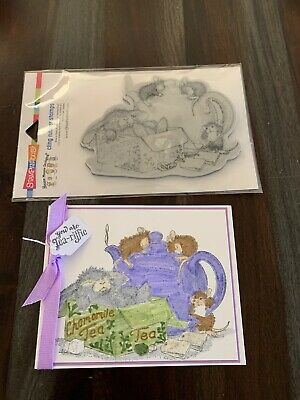 House Mouse CAMOMILE TEA stamp bunnymicesugarteapot NEW lot - card