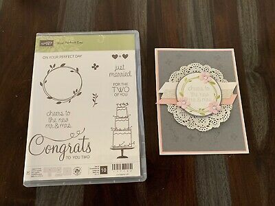 Stampin Up YOUR PERFECT DAY stamp set just marriedweddingcake lot - card