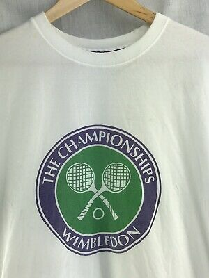 Wimbledon Shirt Mens Medium Vintage England Lawn Tennis Croquet Club White