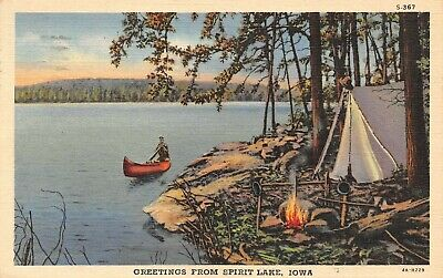 Greeting From Spirit Lake Campsite Boat Scene Spirit Lake,IA Vtg 1946 Postcard