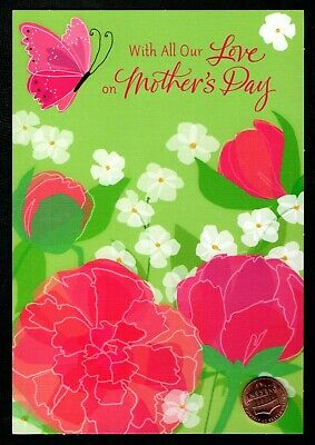 Mothers Day Butterfly Pink flowers Leaves - Mothers Day Greeting Card - NEW
