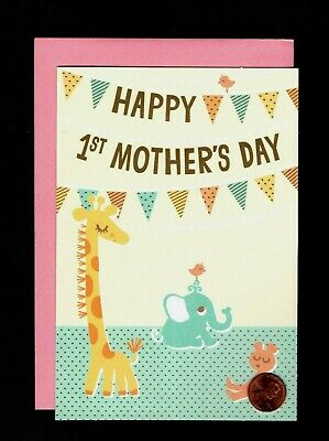 Mothers Day Babys First 1st  Giraffe Elephant  Bear Banner - Greeting Card NEW