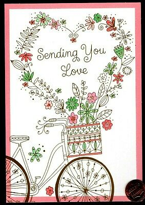 Mothers Day HALLMARK  Bicycle Basket Flowers - GOLD SHINE - Greeting Card NEW
