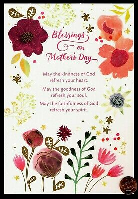 Mothers Day Flowers Leaves Blessings - RELIGIOUS GLITTERED Large Greeting Card