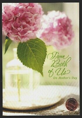 Mothers Day HALLMARK Hydrangea Flowers From Both Of Us GLITTERED Greeting Card