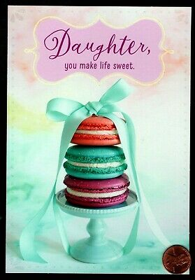 Mothers Day Macaroons Cookie Dessert - GLITTERED - For Daughter Greeting Card