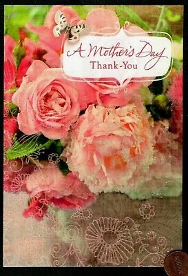 Mothers Day Roses Butterfly - GLITTERED -  Mothers Day Greeting Card - NEW