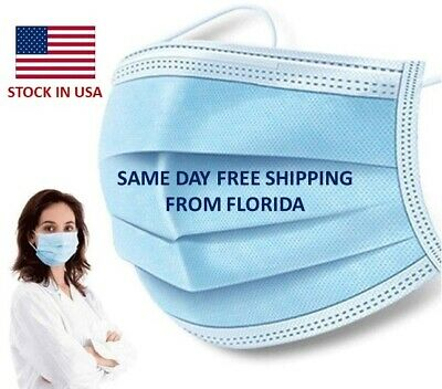 50 PCS Face Mask Medical Quality Surgical Dental Disposable 3-Ply Earloop