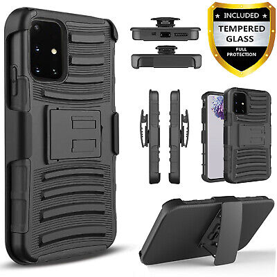 For Samsung Galaxy A51 A71 5G Case Armor Belt Clip - Tempered Glass Protector