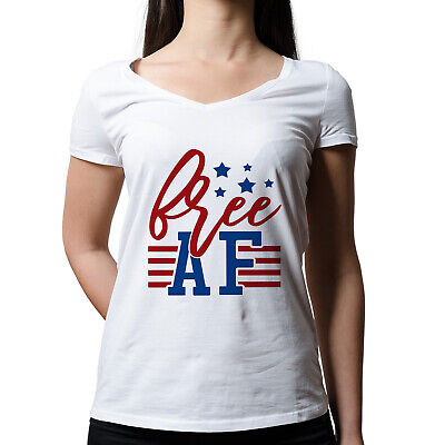 Free AF Fourth Of July Drinking Funny Fourth Of July V-neck July 4th T-shirt