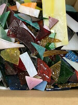 Lot Stained Glass Pieces Scrap Mosaic Arts Small Projects Crafts 3-5 Lbs