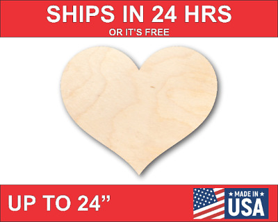 Unfinished Wood Rounded Heart Shape - Craft - up to 24  DIY
