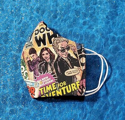 Washable Handmade Fabric Face Mask filter pocket DOCTOR WHO COMICS