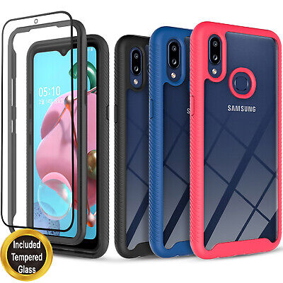 For Samsung Galaxy A01 A11 A21 Case Shockproof Cover- Tempered Glass Protector