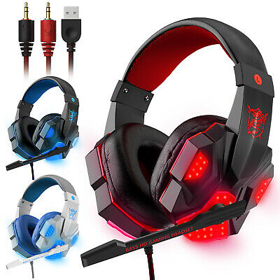 3-5mm Gaming Headset Mic LED Headphones Stereo Bass Surround For PC Xbox One PS4