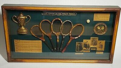 The History Of The Tennis Racket 1880s-1950s Shadow Box Wimbledon 20x 11 RARE
