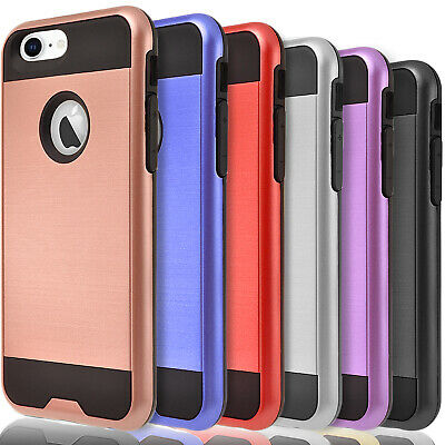 For iPhone 7  8  8 Plus Case Dual Layer Protective- Tempered Glass Protector