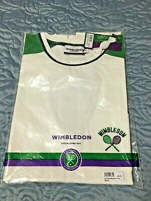 NEW Wimbledon Championships T Shirt Mens SM White Embroidered Tennis Rackets