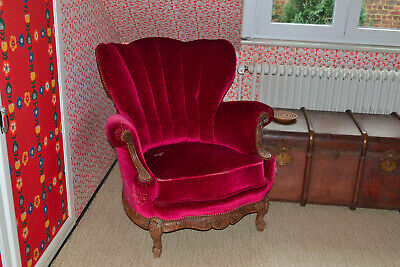 fauteuil style louis xv tissus velours rouge