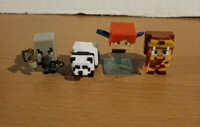 Minecraft Mini Figure Lot Alex with Elytra Wings Panda Chopping Vindicator Steve
